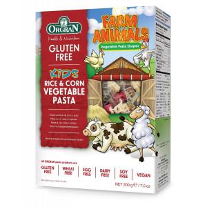 Testenine iz riža in koruze z zelenjavo, živali s kmetije
