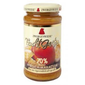 Breskova marmelada z marakujo, slajena z agavinim sirupom, 70% sadni delež